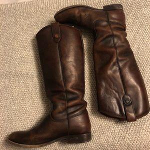 Frye boots, Melissa button dark brown